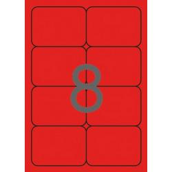 APLI 02876 Флуоресцентно червени самозалепващи етикети 99,1х67,7мм за лазерен принтер