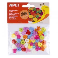 APLI 16835 Пластмасови цветни копчета, 60 броя