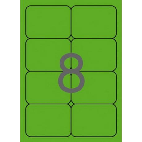 APLI 02877 Флуоресцентно зелени самозалепващи етикети 99,1х67,7мм за лазерен принтер