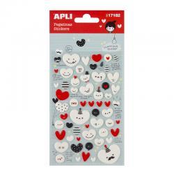 APLI 17182 Самозалепващи стикери от пяна - усмихнати сърца
