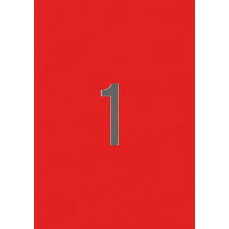 APLI 02880 Флуоресцентно червени самозалепващи етикети 210х297мм за лазерен принтер