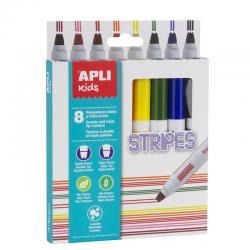 APLI 16809 Флумастри с Двоен писец, 8 цвята