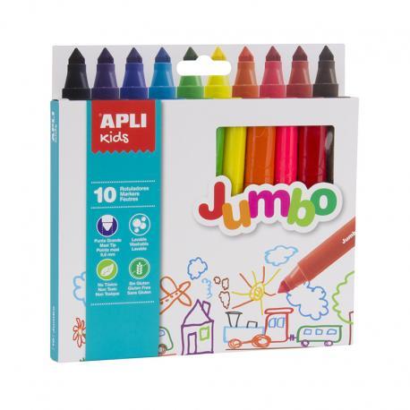 APLI 16804 Джъмбо флумастри, 10 цвята