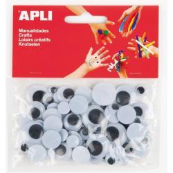 APLI 13263 Мърдащи се очички, СЗЛ черни, 100 бр.