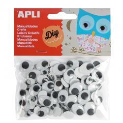 APLI 13264 Мърдащи се очички, СЗЛ, черни, 100 бр.