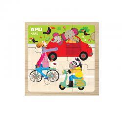 15183 APLI Дървен пъзел 9 части - Животни на превозни средства