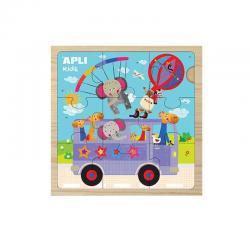 15184 APLI Дървен пъзел 9 части Автобус