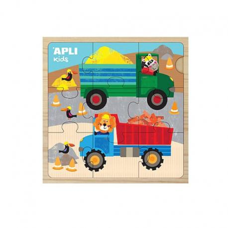 Дървени пъзели 9 части - Животни на превозни средства