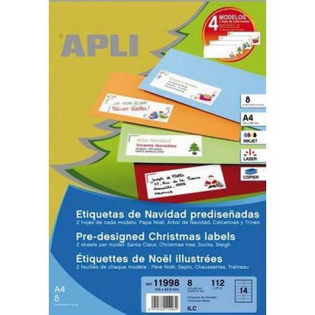 APLI 11998 Коледни самозалепващи етикети 4 дизайна