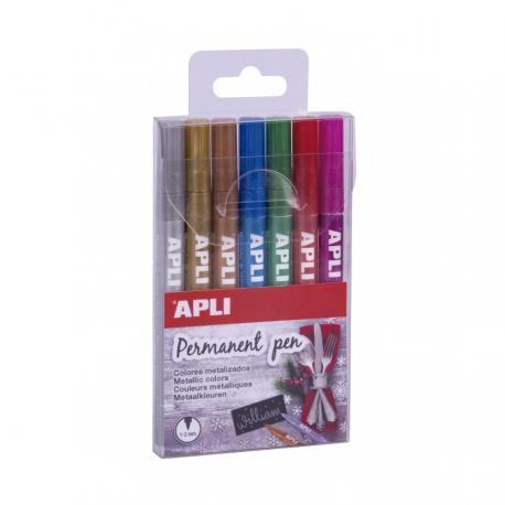 Постоянен маркер за всякакви повърхности, 7 цвята - Металик - в комплект