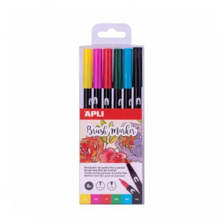 Двувърх маркер - kомплект от 6 цвята