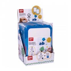 APLI 12916 Двустранна бяла дъска, 18,5 х 28 см, 2 маркера и 1 гъба. Идеална за използване у дома и в училище.
