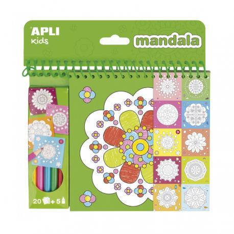 Книжка за оцветяване с мандали + 5 цветни молива