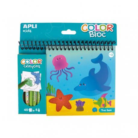Книжка за оцветяване Океан + 5 цветни пастела