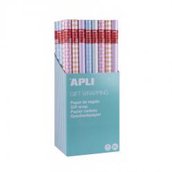 APLI 18005 Опаковъчна хартия 2 м х 0.70м. Пастелени цветове