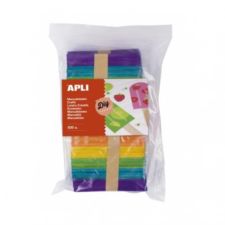 APLI 17453 Дървени цветни пръчици, плоски, 500бр.