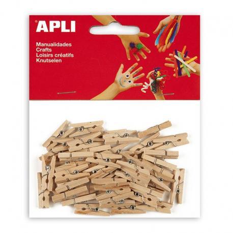 APLI 13478 Дървени мини щипки, 45 бр.