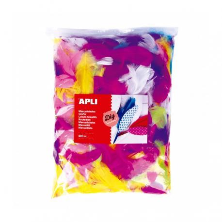 APLI 18156 Цветни пухкави перца, Макси оп. 400 бр.