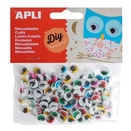 Очички за апликация и декорация, цветни, самозалепващи 100 броя