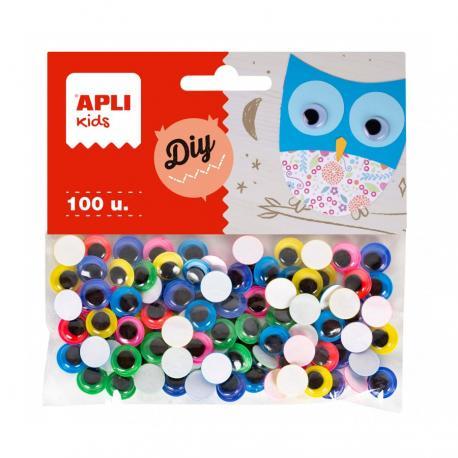 APLI 18255 Самозалепващи цветни мърдащи очички Ф 10 мм, 100 бр