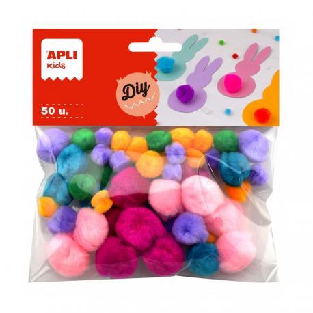 APLI 18241 Много пухкави помпони, цветни, 50 бр