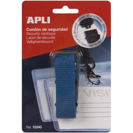 Синя текстилна секюрити лента за бадж, 90х2см