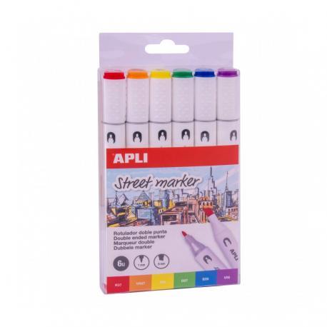 APLI 18431 Двустранни цветни Street маркери- комплект от 6 цвята