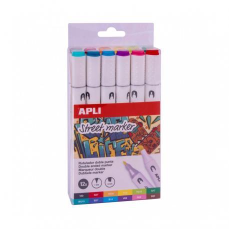 APLI 18432 Двустранни цветни Street маркери- комплект от 12 цвята