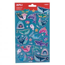 Обемни, големи стикери Морски животни с мет.покритие - 32 бр