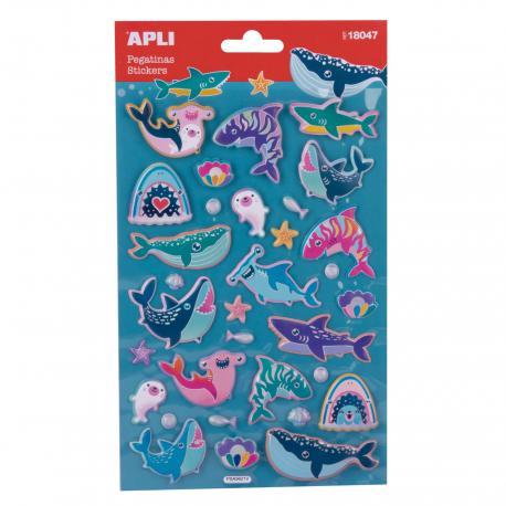 Обемни голями стикери морски животни с мет.покритие - 32 бр