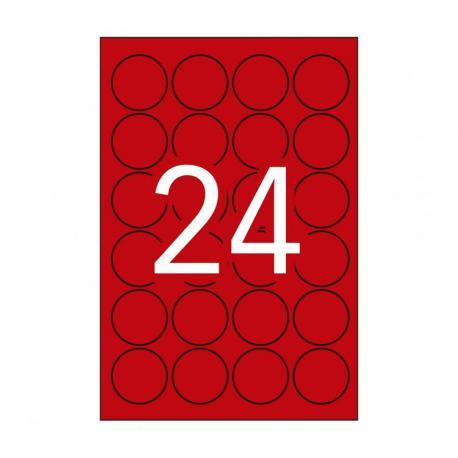 APLI 14597 Флуоресцентни етикети А4 20л.червени Ф45 за лазерен принтер