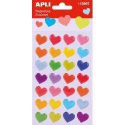 APLI 13897 Самозалепващи стикери епокси - Цветни сърца