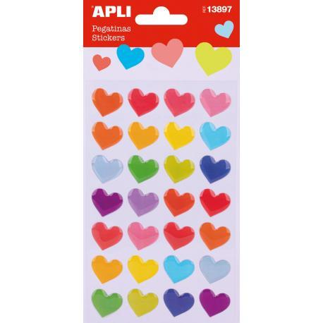 APLI 13897 Самозалепващи стикери - Цветни сърца