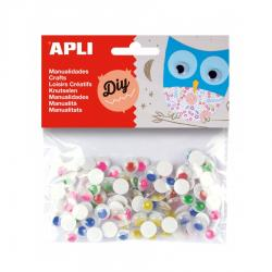 APLI 13266 Движещи се очички, цветни, кръг Ф10 мм. Самозалепващи, 100 бр