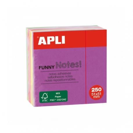 APLI 11596 мини кубче самозалепващи листчета в 5 ярки, неонови цвята