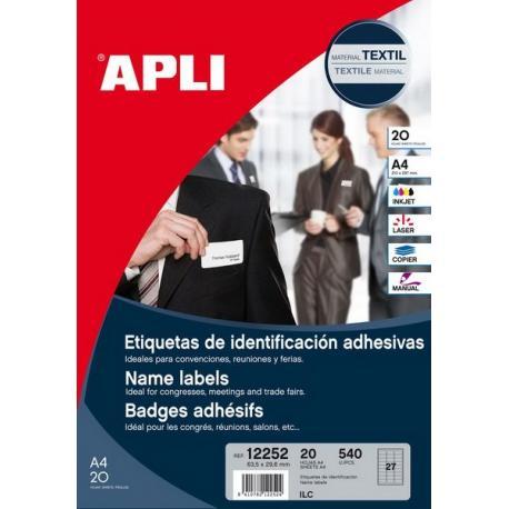 APLI 12252  текстилни етикети, бели, самозалепващи, не оставят следи