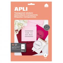 APLI 10053 Прозрачни, полиестерни етикети за печат на мастиленоструен принтер с фотокачество
