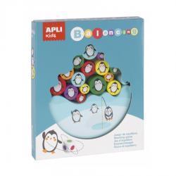 Дървена баланс игра със зар Пингвини, 16 елемента