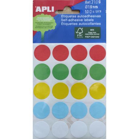 APLI 7109 Цветни етикети Ф19 микс цветове