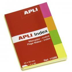 APLI 11286 Хартиени разделители презалепващи 4 неонови цвята