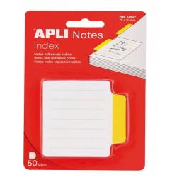 APLI 12627 Самозалепващи индекс листчета бели с жълт индекс