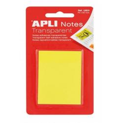 APLI 12631 Прозрачни самозалепващи индекс листчета жълти