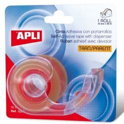 APLI 12094 Прозрачна самозалепваща лента със диспенсър