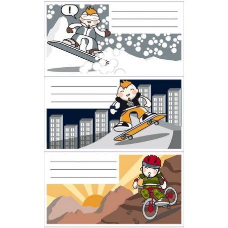 APLI 11855 Ученически етикети, серия Културен микс-спорт, хлапе, сняг.