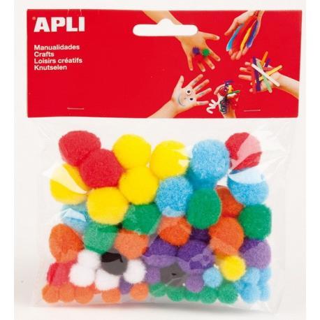 APLI 13061 Помпони, цветни, 78 бр.