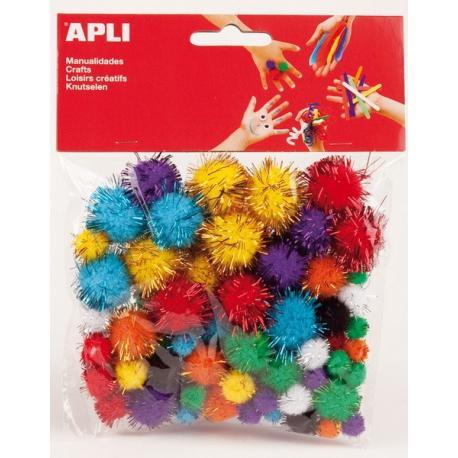 APLI 13062 Помпони, цветни, блестящи, 78 бр.