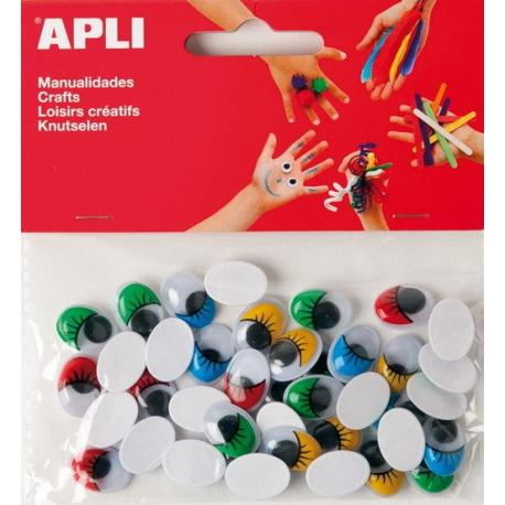 APLI 13059 Мърдащи очички с мигли, цветни, самозалепващи, 40 бр.