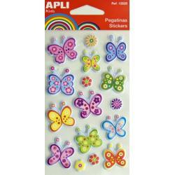 APLI 12830 Меки и обемни самозалепващи стикери за декорация - Пеперуди