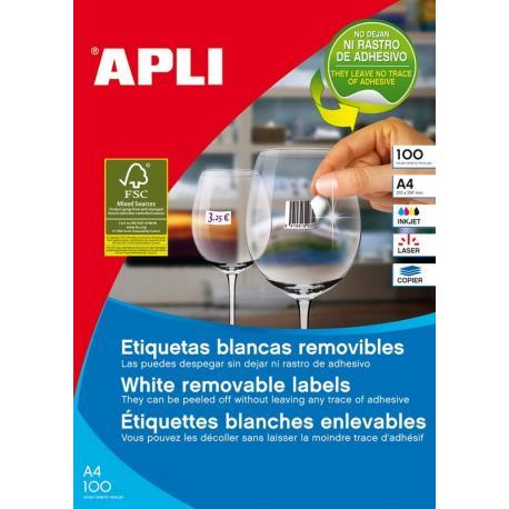 APLI 03051 етикети бели презалепващи