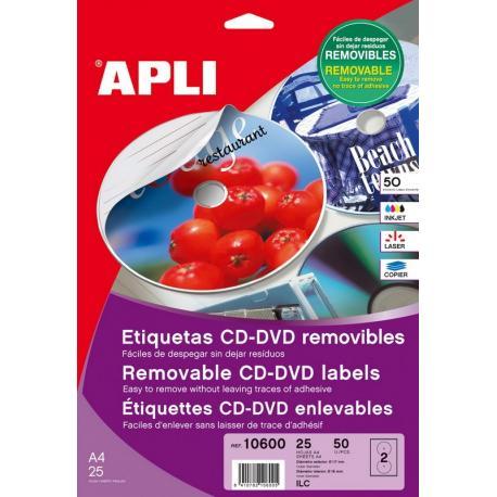 APLI 10600 презалепващи бели етикети за CD-DVD